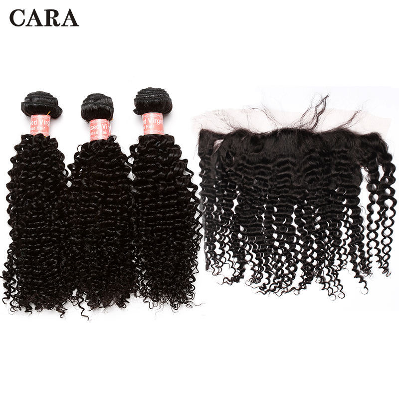 Mongolian Kinky Curly Hair Bundles With Frontal Closure 4x4 Silk Base Lace Frontal Closure Virgin Human Hair Extension CARA