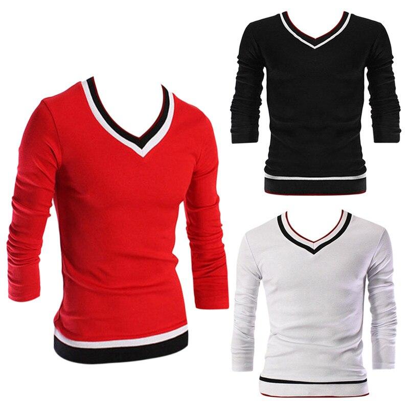 Hommes Tops T-shirts de Mode 2016 Automne À Manches Longues V Cou T-shirt Hommes Slim Fitness t-shirt Chemisette Marque Clothing M-3XL