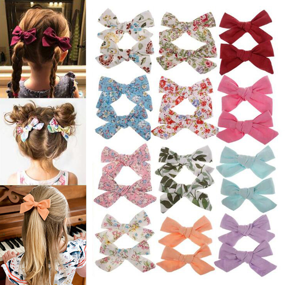 Lovely Baby Bohemian Style Bow BB Hair Clips Girls Print Flower   Headwear   Children Cute Cotton Hairpins girls hair accessories