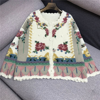 Luxury Designer Brand Knitted Cardigans for Women O Neck Vintage Hand Embroidered Flower Hook Stereo Ball Knitted Sweater