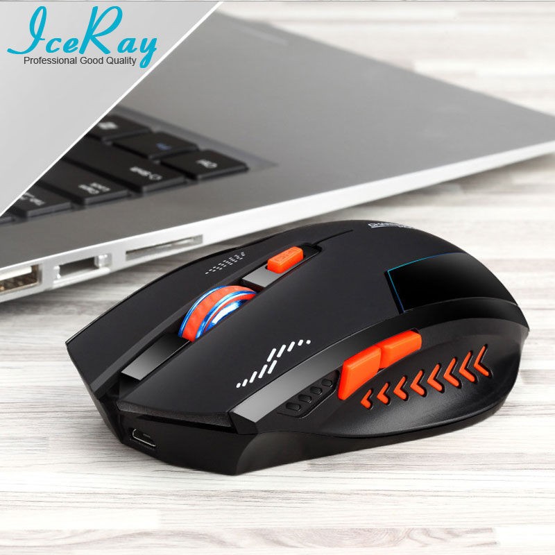 IceRay Professionelle Wiederaufladbare Drahtlose Maus Mit Stille Taste Für Computerspiel