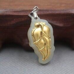 New Baik 24 K Kuning Emas & Hetian Jade Pendant Wanita Pria Berkat Daun Liontin/29x15mm
