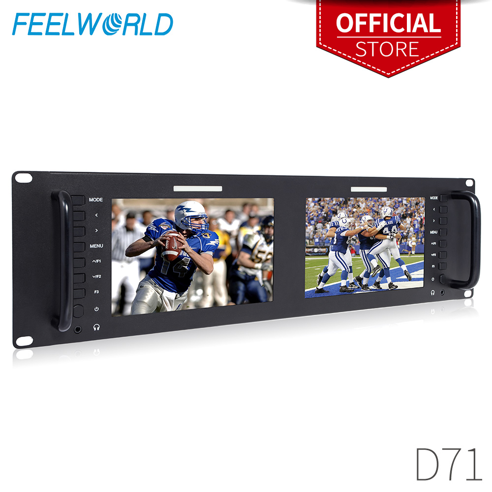Dual 7 3RU IPS 1280x800 Broadcast LCD Rack Mount Monitor with 3G-SDI HDMI AV Input Output Dual Screen Industrial Monitor D71 feelworld d71 dual 7 inch 3ru ips 1280 x 800 3g sdi hdmi lcd rack mount monitor portable 2 screens broadcast monitor