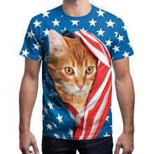 цена на 3D Print Short Sleeve Shirt  New Men USA Flag T-shirt Sexy Striped Cat Tops Tees