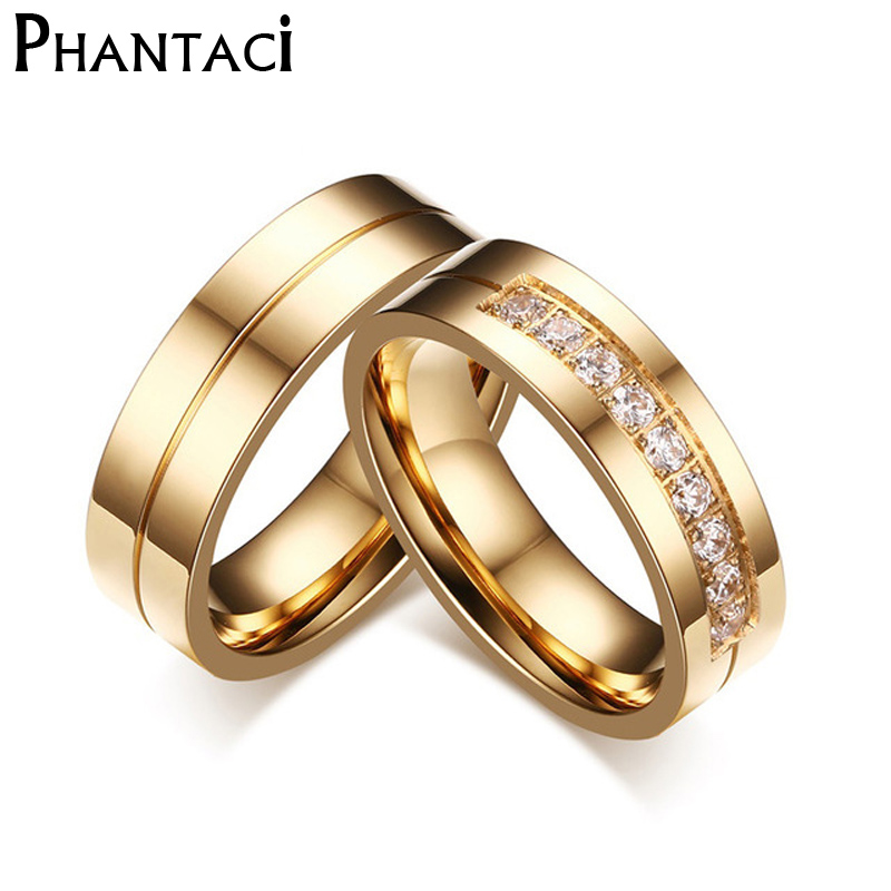 6mm stainless steel wedding ring for lovers ip gold color crystal cz couple rings set men women engagement wedding rings - Discount Wedding Rings Women