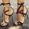 Mulheres Sapatos Da Moda Bombas Peep Toe de Salto Alto Bombas com Lace-Up EU34-43 Grandes Sapatos Tamanho Das Mulheres