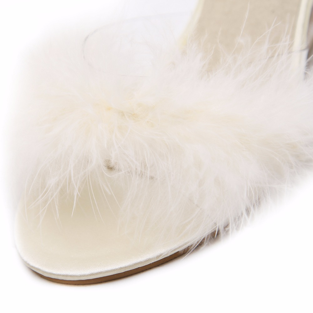 3 Color Female Slipper 35-40 Women Shoes Slides Ultra-high-heeled 8.5cm Feather Wedges Crystal Transparent Wedding Shoes 51