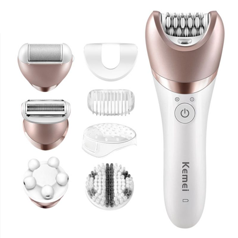 KM-8001 Brand 5 In 1 Rechargeable Shaver Electric Epilator Shaving Hair Remover Women Depilation Massager Callus Removal Sets kemei km 8001 5 in 1 rechargeable shaver electric epilator shaving hair remover women depilation massager callus removal sets