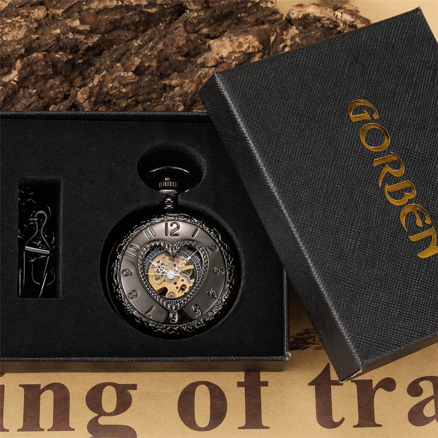 Full Black Love Heart Shape Hand Wind Mechanical Pocket Watch Retro Hollow Skeleton Pendant Steampunk Mens Watch With Chain