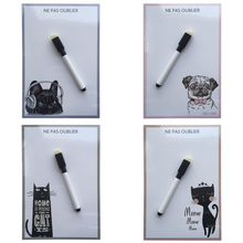 dog and cat Print compact Dry Erase Flexible fridge magnet board message board decorative refrigerator magnetic sticker
