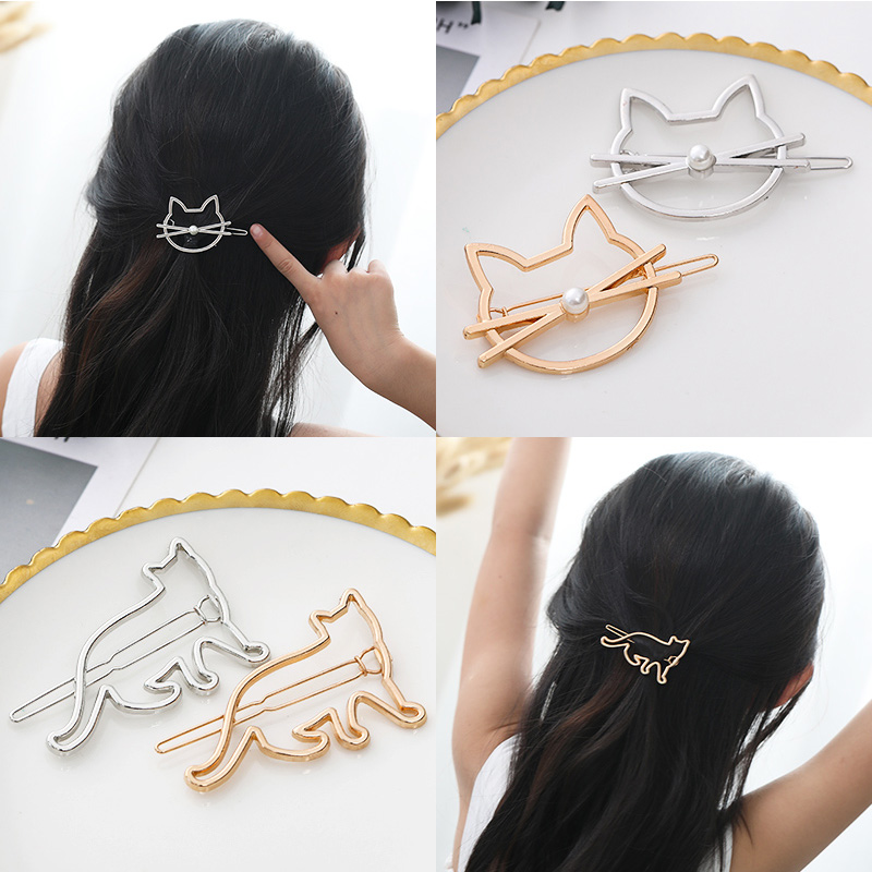 Women Cute Cartoon Cat Round Star Gold Alloy Hairpins Headbands Girls Simple Barrettes   Headwear   Fashion Lady Hair Accessories
