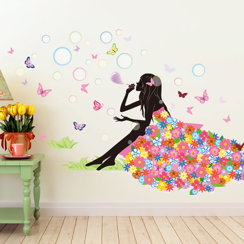 Aliexpress.com : Buy Elf Girl Blow Bubbles On Grassland Wall Decals Home  Decor Butterfly Flowers Dress Landscape Wall Mural Poster Wall Sticker From  ... Part 42