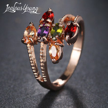 Unique Famous Brand Design Rose Gold Color Ring With Multicolor Cubic Zirconia Vintage Ring for Women Party Bague AR074(China)
