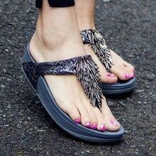2019 new Women Slippers Female Summer Beach Ladies Outside Sandals Water resistant Wedges Slippers tassel platform sandals b142