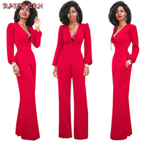 RAISEVERN 2019 Autumn Spring Red Rompers Womens Jumpsuit Boho Printing Sexy Deep V Neck Hollow Out Romper Women Jumpsuits Pants