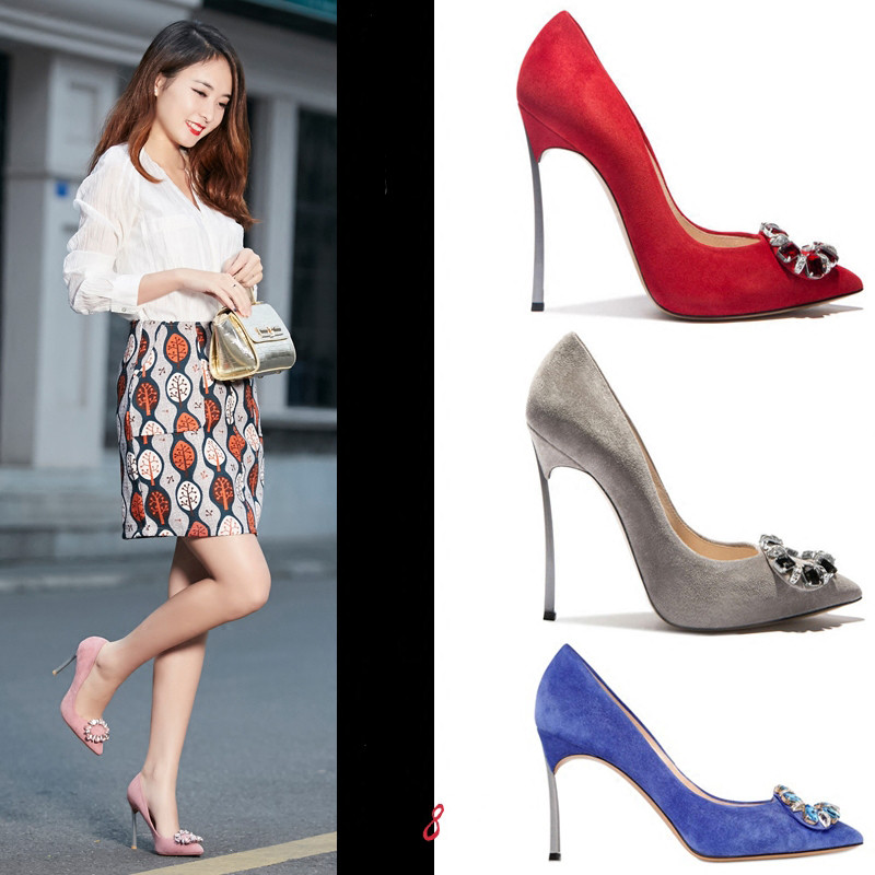 ФОТО Hot Sale Multicolor Suede High Heels Twinkling Rhinestone Sexy Pointed Toe Woman Pumps Stiletto Heels Luxury Party Dress Shoes