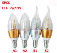 5PCS E14 Led Bulb Candle Energy Crystal Lamp 5W 7W SMD2835 Saving Lamp Light Bulb Home