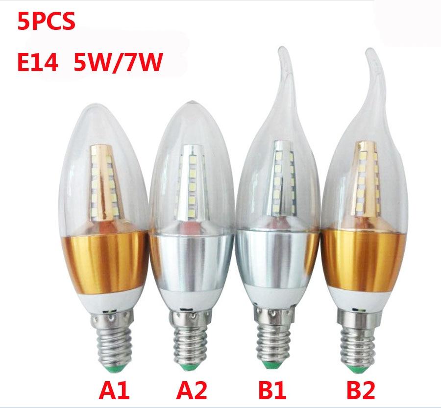 5PCS E14 Led Bulb Candle Energy Crystal lamp ,5W 7W SMD2835 Saving Lamp Light Bulb Home Lighting Decoration Led Lamp AC220V