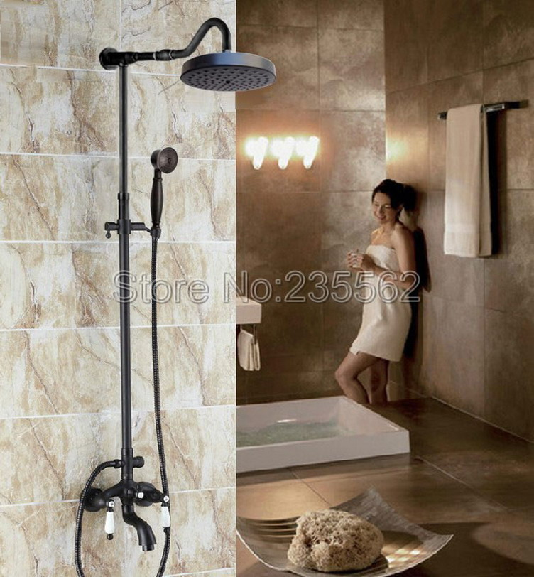 Wall Mounted Black Oil Rubbed Bronze Bathroom Rain Shower Faucet Set Cold and Hot Water Mixer Shower Taps + Hand Shower lrs688Wall Mounted Black Oil Rubbed Bronze Bathroom Rain Shower Faucet Set Cold and Hot Water Mixer Shower Taps + Hand Shower lrs688
