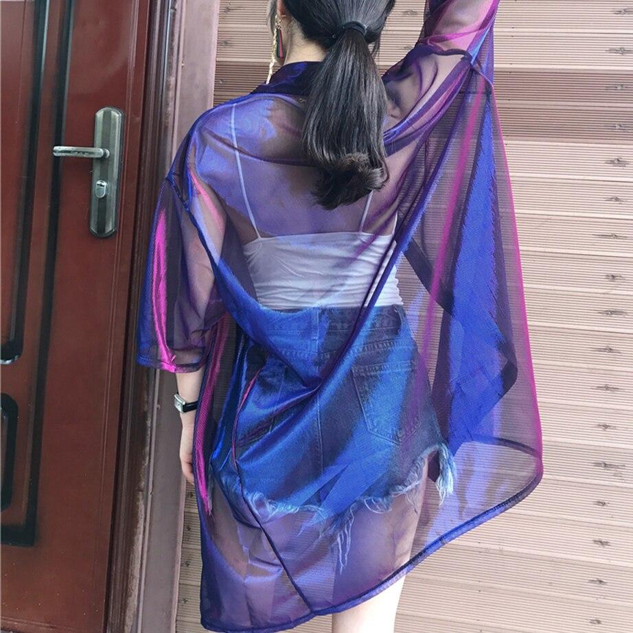 Harajuku Holographische Sheer Kleid Sommer Festival Rave Kleidung ...