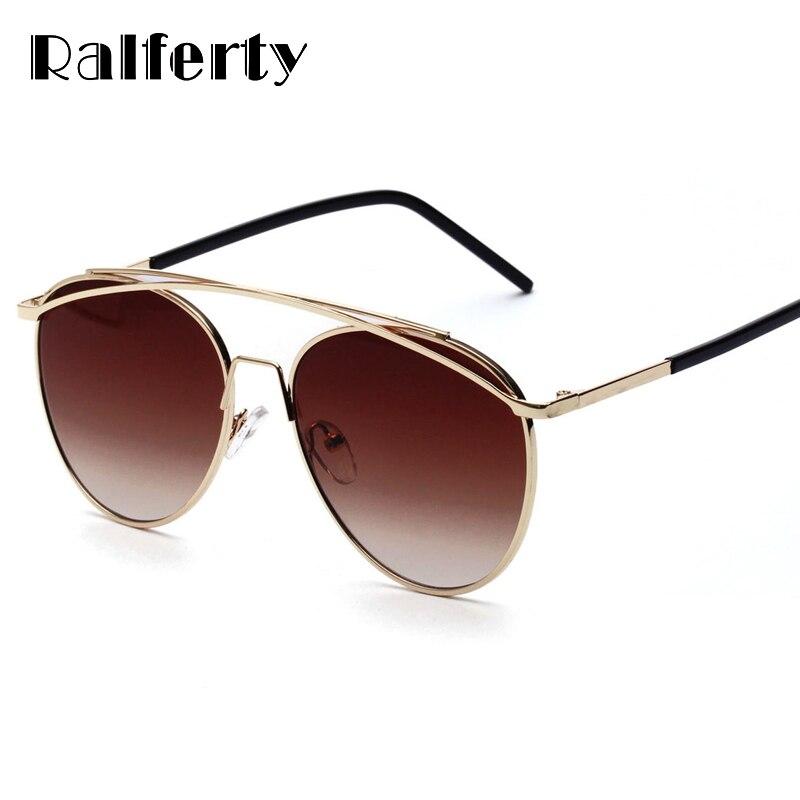Ralferty Stylish Aviation Sunglasses Women Men Brand Designer Sunglass UV400 Sun Glasses Female Shades Brown Gradient A1259