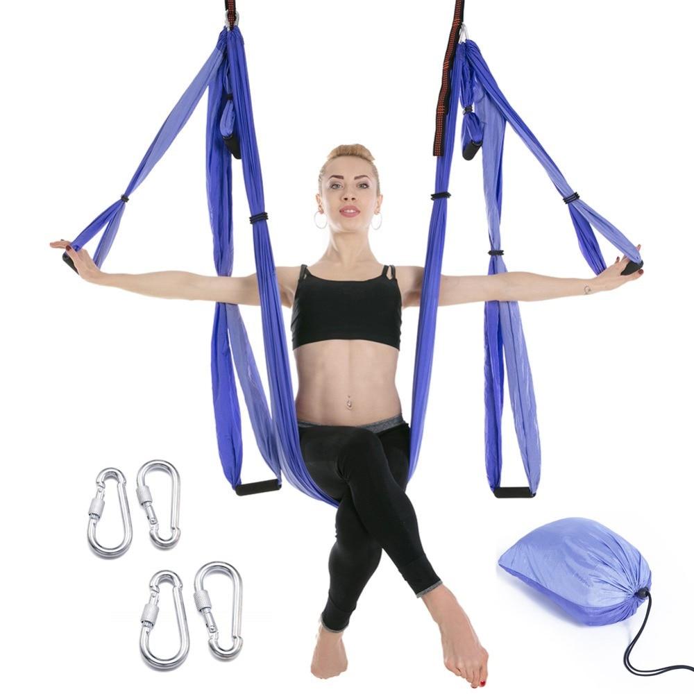 15 Color 6 Handles Anti-gravity Aerial Yoga Hammock Set Multifunction Yoga Belt Flying Yoga Inversion Tool With Carry Bag