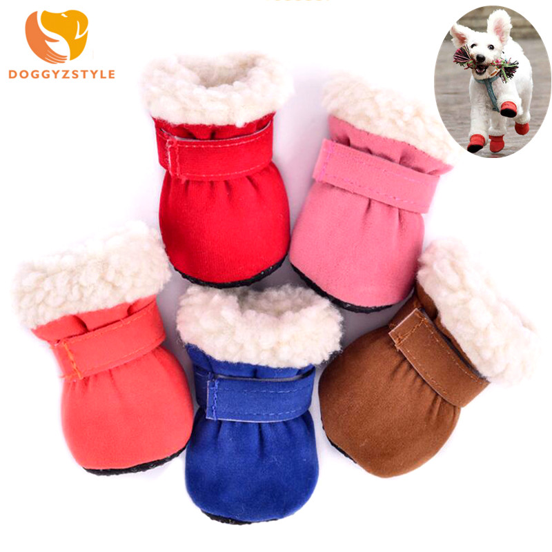 DOGGYZSTYLE 4pcs/set Windproof Pet Dog Shoes Winter Warm Puppy Boots Candy Colors Anti Slip Shoes For Small Dogs Chihuahua Dog Shoes     - title=