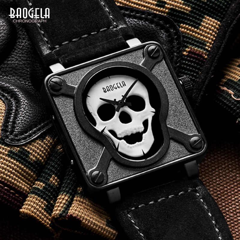 Baogela Herren Wasserdicht Schwarz Braun Leder Strap Platz Zifferblatt Quarz Handgelenk Uhren mit Leucht Schädel BGL1701