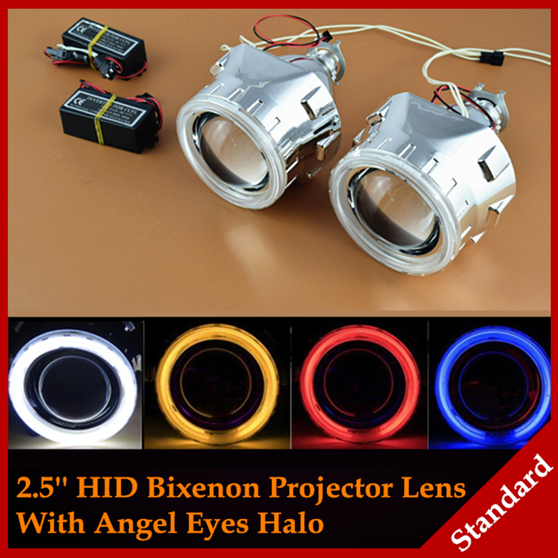 Car Styling Automobiles WST CCFL Angel Eyes Halo HID Bi xenon Lens Projector Headlight Retrofit H1 H4 H7 Headlamp Lenses LHD RHD  car styling automobiles 3 0 metal bi xenon hid lens with led cob drl angel eyes for projector headlight h1 h4 h7