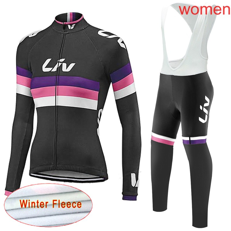 Pro team cycling jersey Women set winter thermal fleece Outdoor sport Suit MTB bicycle Wear Maillot