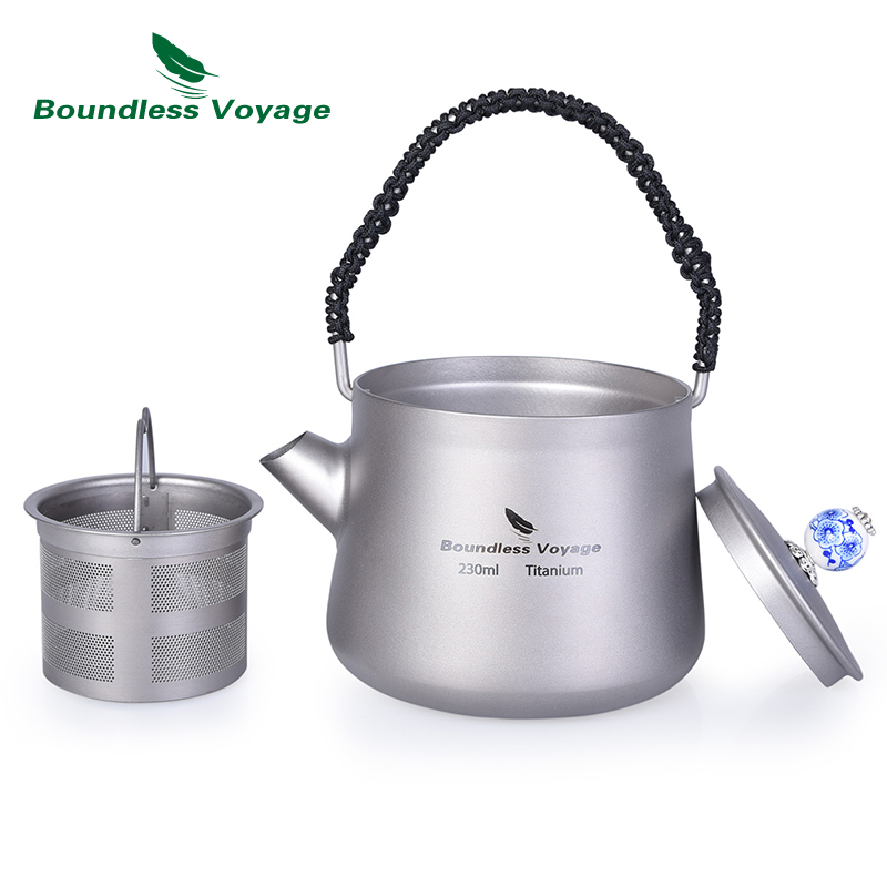 Boundless Voyage Mini Titanium Kettle Cup Set with Filter Anti scalding Handle Lid Camping Coffee Tea