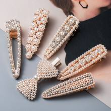 1pc Vintage Imitation Pearl Hairpins For Women Girls Gifts Gold Color Hair Clips Crystal Rhinestones Hair Accessories Jewelry(China)