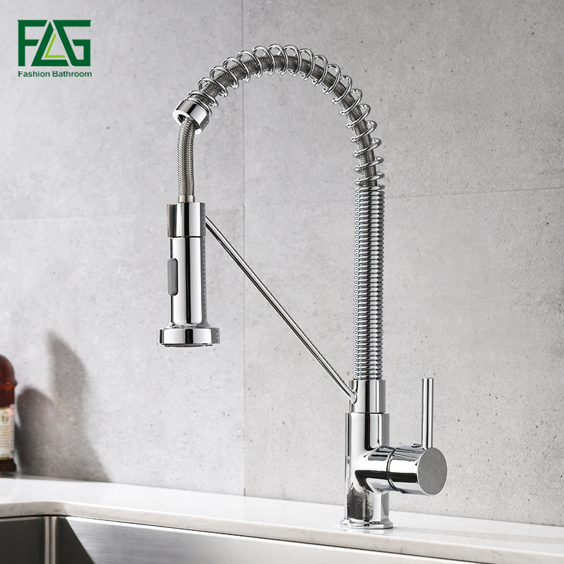FLG Kitchen Faucets Brush Brass Faucets for Kitchen Sink Single Lever Pull Out Spring Spout Mixers Tap Hot Cold Water Crane 1009FLG Kitchen Faucets Brush Brass Faucets for Kitchen Sink Single Lever Pull Out Spring Spout Mixers Tap Hot Cold Water Crane 1009