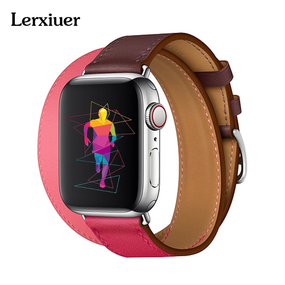 De cuero doble Tour correa para apple watch Hermes banda 40mm 44mm 42mm 38mm de Deporte de la venda de reloj para iwatch serie 4 3 2 1