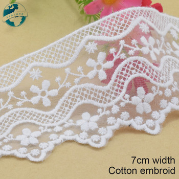 3yard 7cm wide Cotton embroid lace sewing ribbon guipure lace african lace fabric trim warp knitting DIY Garment Accessories3085