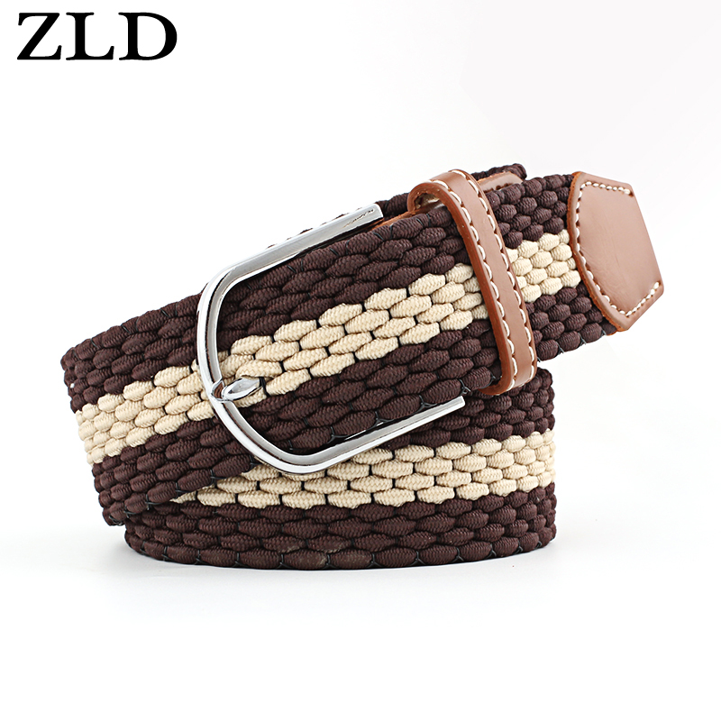 ZLD Newest Luxury Gentleman   Belt  Without Holes Men's Elastic Reversible   Belt   With Mixed Color Stretch Woven Canvas women's   Belt