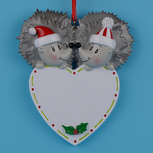 hedgehog polear bear couple resin craft wedding souvenirs gifts personalized christmas engagement ornaments free drop name