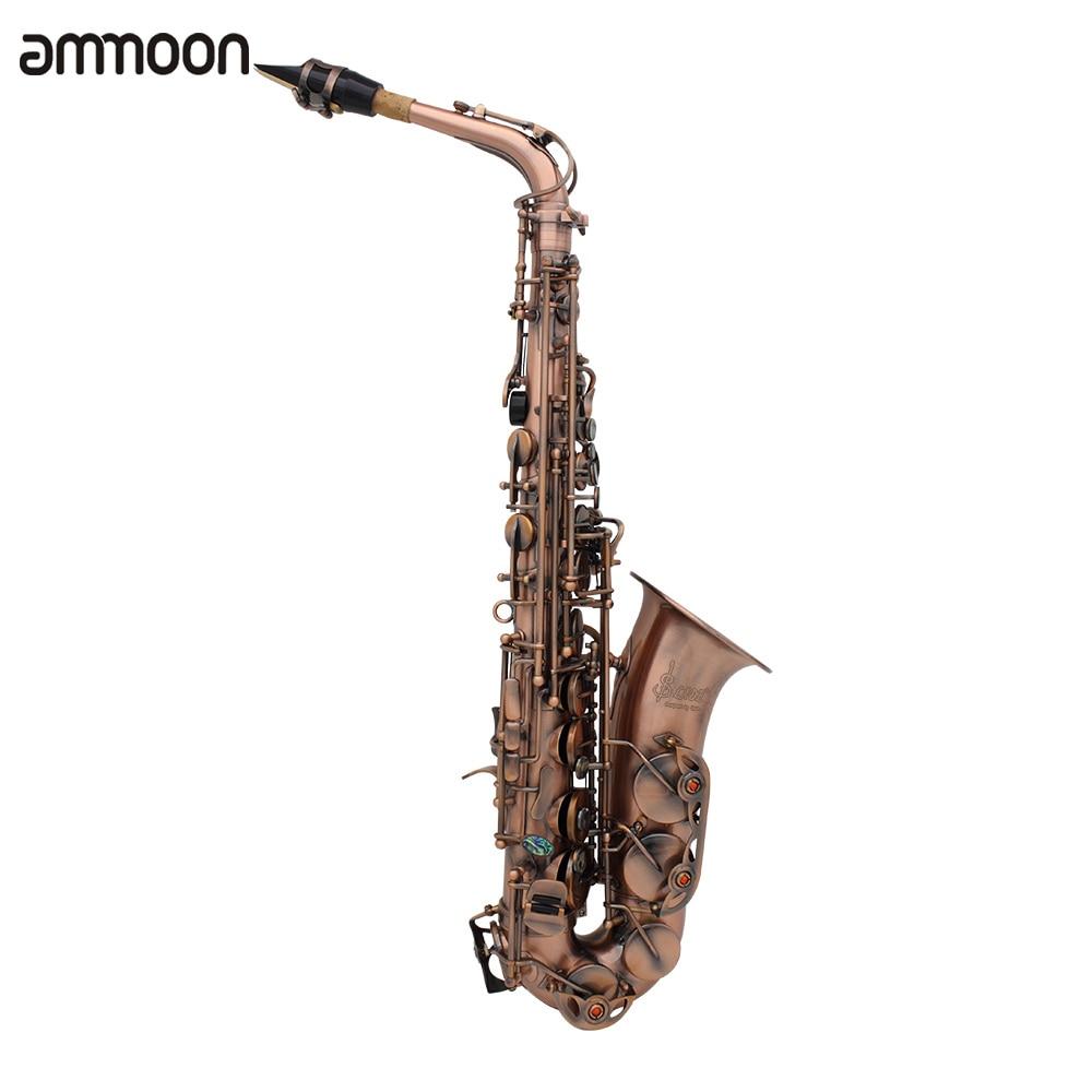 Professional Eb E flat Alto Saxophone Sax Red Bronze Bend Abalone Shell Key Carve Pattern with