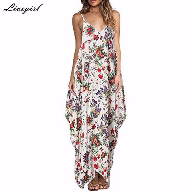 f1c6a0563a220 2017 Bohemian Summer Floral Print Long Dress Women Sexy V neck Spaghetti  Strap Backless Beach Maxi Dresses Vestidos