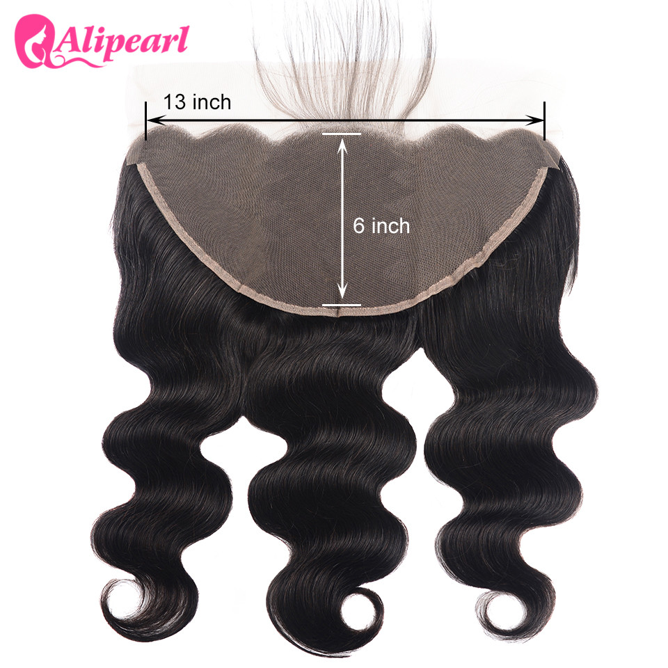 AliPearl Hair Brazilian Body Wave 100% Human Hair Lace Frontal 13X6 With Baby Hair Free Part Natural Color Remy Hair Extensions