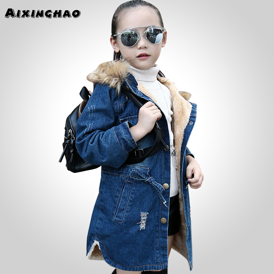 Girls Winter Denim Coats Autumn Children Outerwear Girls Casual Long Denim Jacket Girl Coats 6 8 10 12 13 14 Year-in Jackets & Coats from Mother & Kids    1