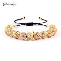 Little MingLou women Luxury bracelet White CZ Ball Connector & 4mm Beads Braided Macrame Bracelets & Bangles for women Jewelry