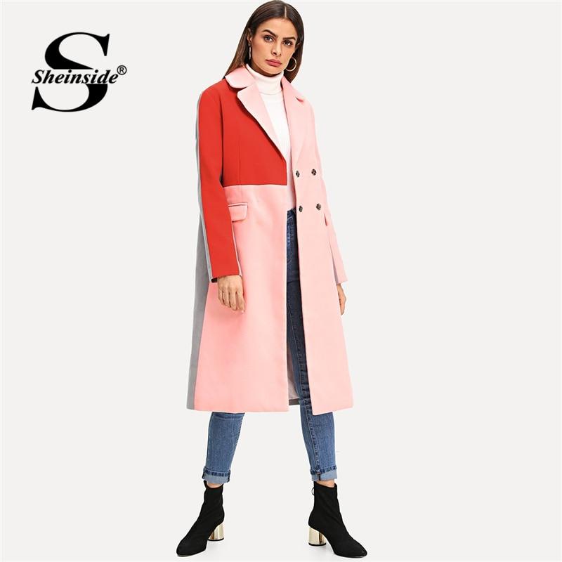 Sheinside Colorblock двубортное шерстяное пальто для женщин верхняя одежда 2018 Осень Зима Элегантный Дамы длинные