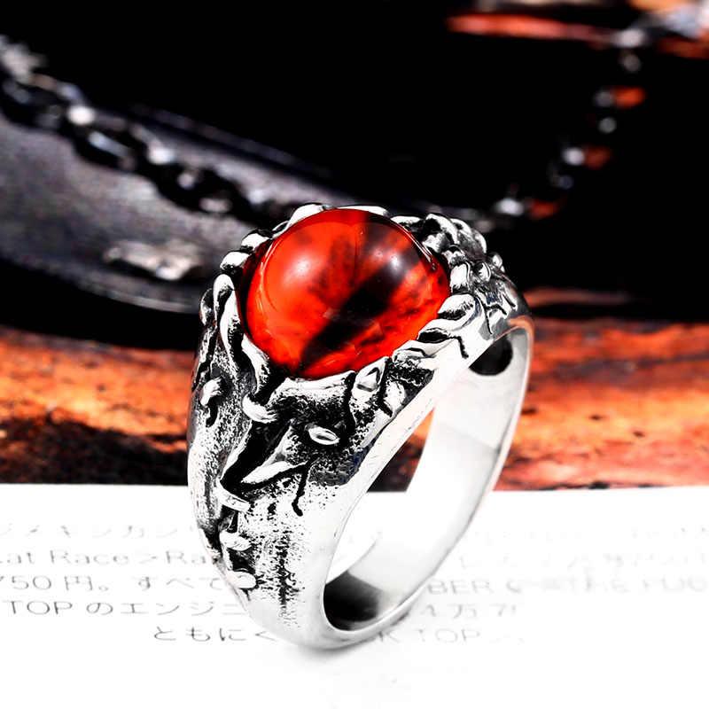 بيير 316L الفولاذ المقاوم للصدأ الشرير الصخرة الزركون الأحمر حجر الشر العين الرجال خاتم مجوهرات الأزياء الجملة هدية دروبشيبينغ