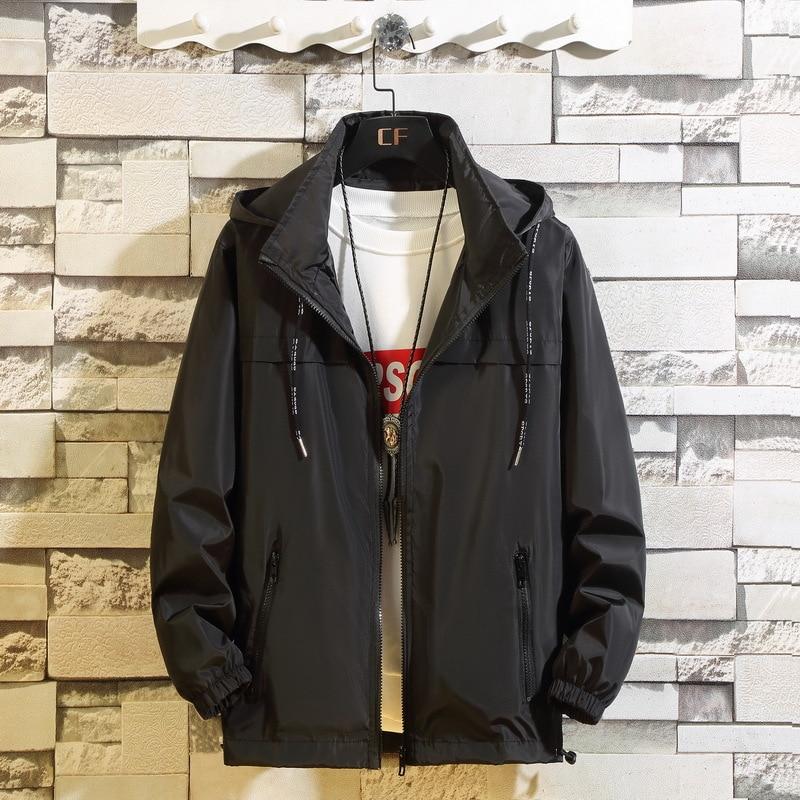 8XL Brand Men Jacket Black Red Gray Casual Solid Color Hooded Loose Bomber Windbreaker Coat Trend Hip Hop Streetwear;YA032