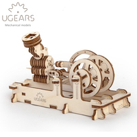 DIY Wooden Pneumatic Engine Mechanical Transmission Model Assembly Puzzle Toy 81pcs