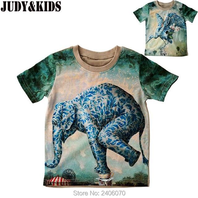 b0fc8d0b6 children summer t-shirt 3D animal print t shirt for baby boy cotton short  sleeve girl tops kids 3d elephant brand design blouse