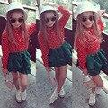2016 осень девушка одежда С Длинным рукавом блузка + юбка 2 шт. мода костюм младенца комплект одежды 2 3 4 5 6 7 лет Девочки комплект одежды