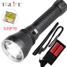 Super Brightness XHP70 LED Flashlight for diving 6000 Lumens DiveFlashlight Tactical 26650 Torch Underwater 100M Waterproof