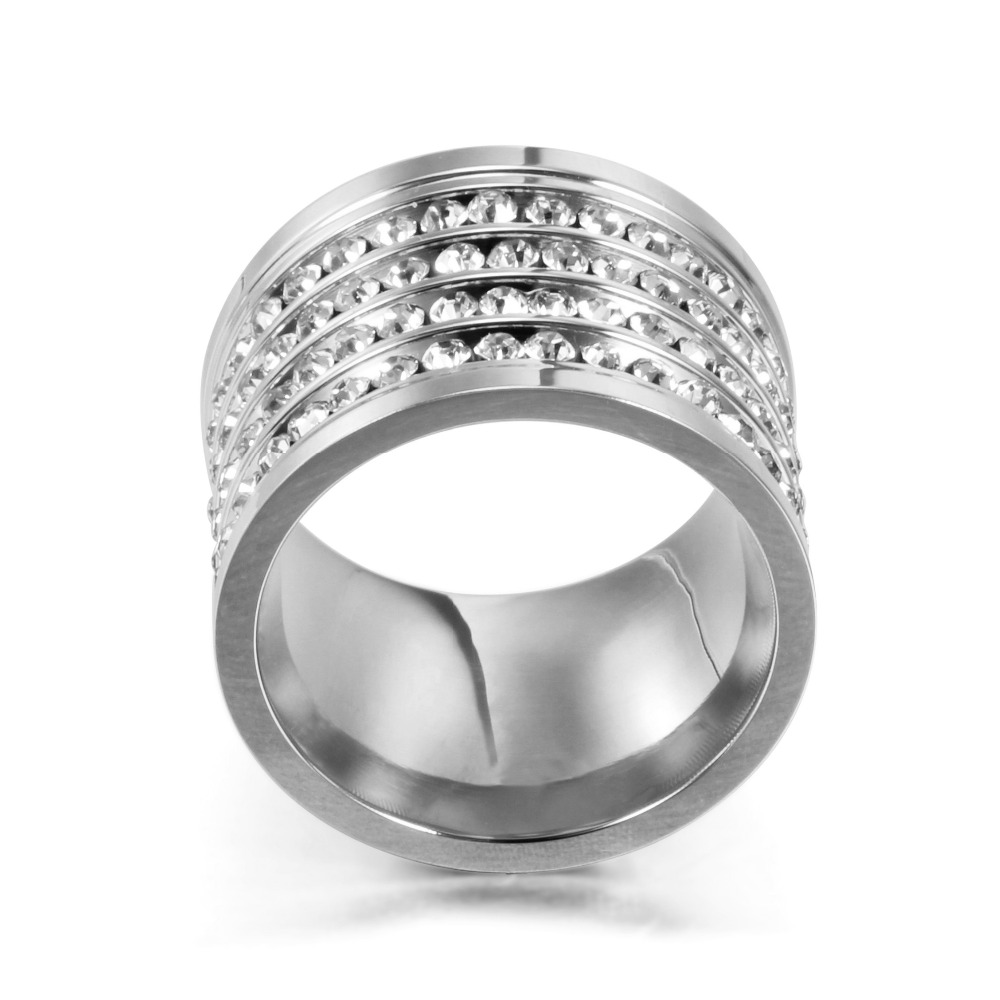 Fashion shining full 4 Row Crystal rhinestone Jewelry Ring Gold Stainless Steel Couple Wedding rings for men and Women 6